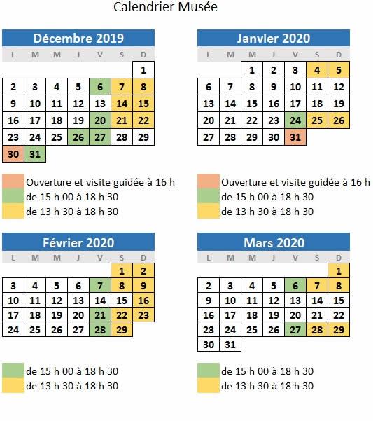 calendrier musée 2020 -2